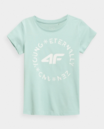 Koszulka dziewczęca 4F JTSD005B miętowa