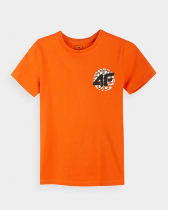 Koszulka chłopięca 4F JTSM012A pomarańczowa