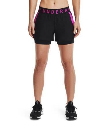 Spodenki damskie UNDER ARMOUR Play Up 2-in-1 Shorts 1351981 czarno-różowe