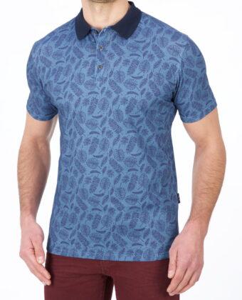 Koszulka polo męska liście LANIERI niebieska