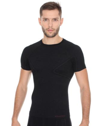 Koszulka męska z wełną merino BRUBECK® ACTIVE WOOL czarna