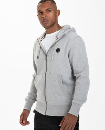 Bluza męska PIT BULL Hooded Zip: Small Logo szara