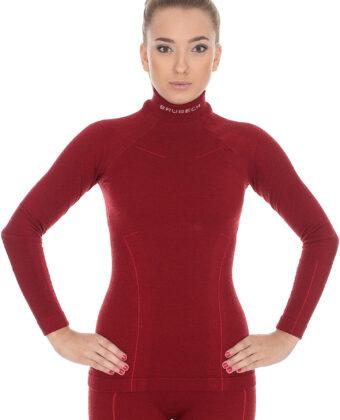 Bluza termoaktywna damska EXTREME WOOL BRUBECK® burgund